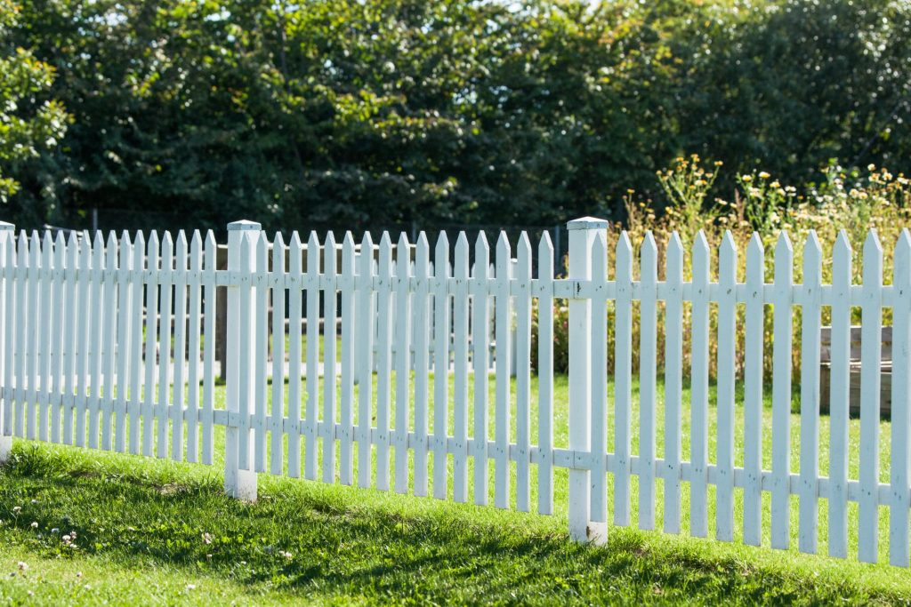 white fence in the back yard